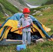 Палатка туристской семьи на Кавказе